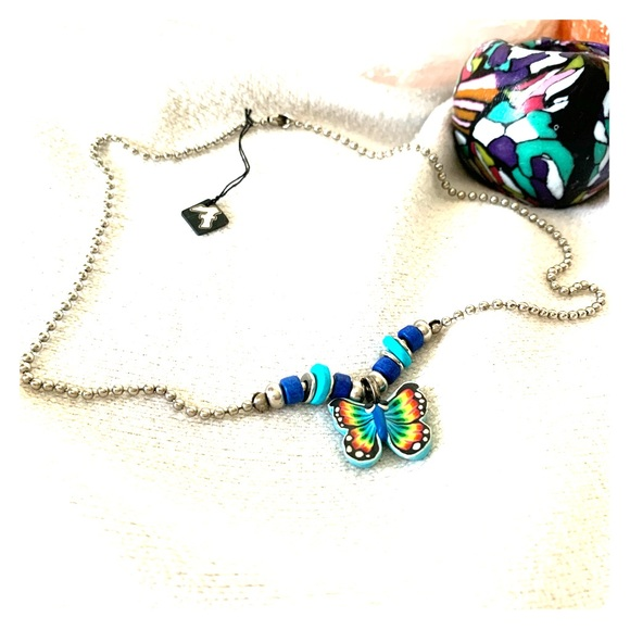 Vintage 90s Fimo Butterfly Ball Chain Necklace